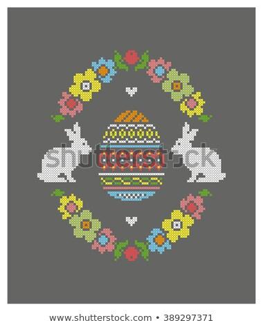 Feliz pascua cruz puntada vector bordado patrón Foto stock © beaubelle