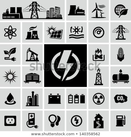 Wiatr elektrownia ikona pozostawia biedronka wiosną Zdjęcia stock © WaD