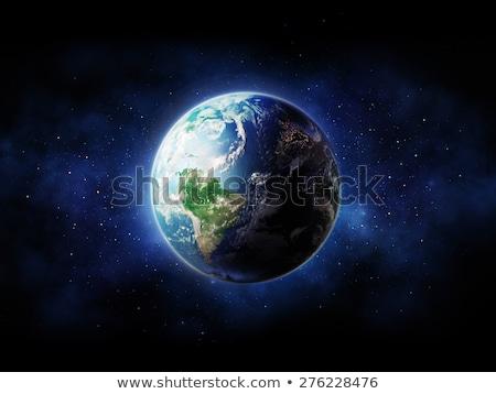 Kék Föld földgömb fehér égbolt fű Stock fotó © Quka
