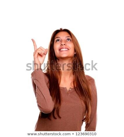 ciddi · kadın · işaret · parmak · kamera · beyaz - stok fotoğraf © wavebreak_media