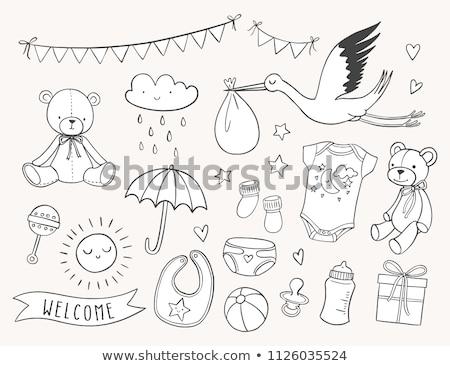 karikatür · bebek · erkek · toplama · dizayn · doğum · günü - stok fotoğraf © balasoiu