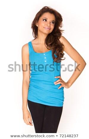 Csinos nő fényes kék ujjatlan felső gyönyörű Stock fotó © stockyimages
