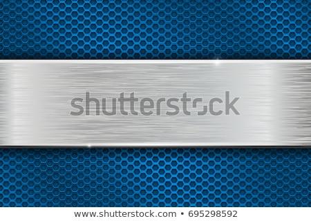 Niebieski metaliczny perforacja tekstury tle sztuki Zdjęcia stock © MONARX3D