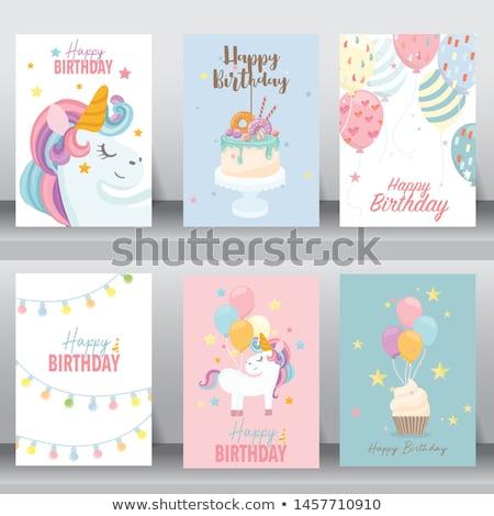baby boy birthday card with elephant Stock photo © balasoiu