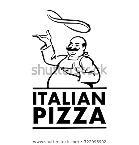 vector cartoon chef with italian pizza stock photo © freesoulproduction