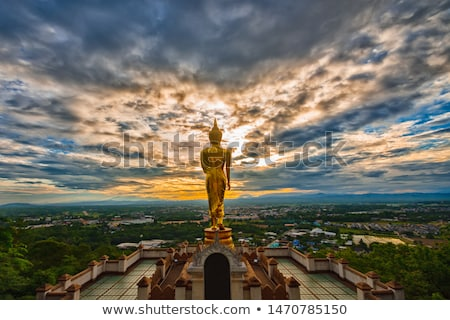 Buda ayakta dağ manzara yeşil seyahat Stok fotoğraf © Lekchangply