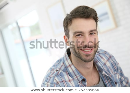 Przystojny 30 lat stary portret czarne włosy brązowe oczy Zdjęcia stock © aladin66