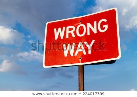 old Wrong Way Sign Stock photo © balasoiu