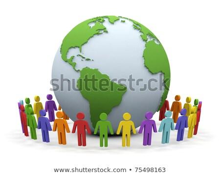 Gens 3d autour monde mondial association isolé Photo stock © Kirill_M