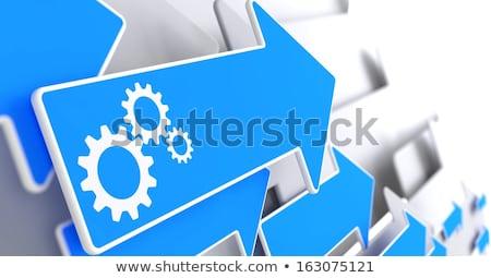 Cogwheel Gear Icon on Blue Arrow. Stock photo © tashatuvango