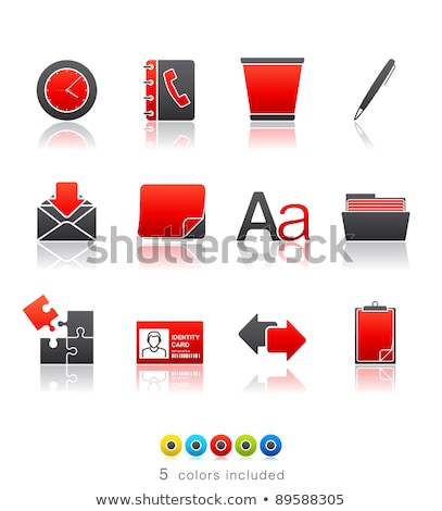 Stock photo: ID Card Icon on Red Arrow.