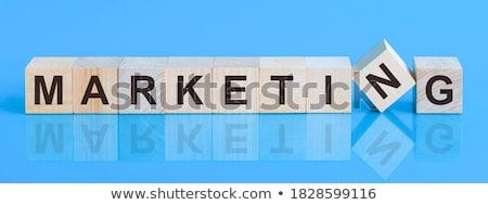 ウェブ マーケティング 青 ガラス ブロック 文字 ストックフォト © marinini