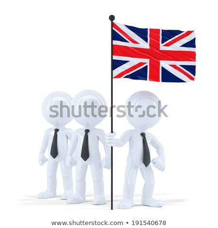 üzleti csapat tart zászló izolált vágási körvonal boldog Stock fotó © Kirill_M