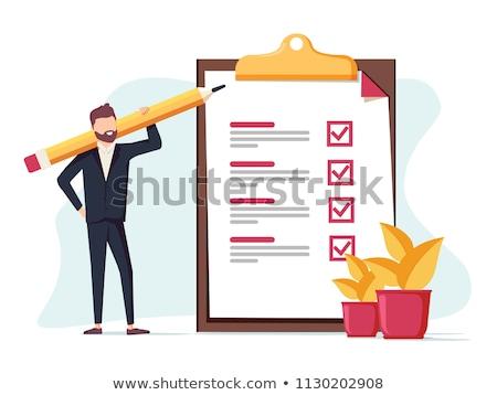 homem · de · negócios · checkbox · negócio · caixa · trabalhador · sucesso - foto stock © designers