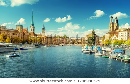 Zürich városkép óra tájkép nyár templom Stock fotó © lightpoet