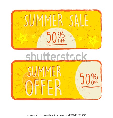 50 percentages off summer discount with sun sign drawn label stock photo © marinini