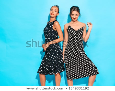 Sexy beautiful blond woman in red polka dots Stock photo © dash