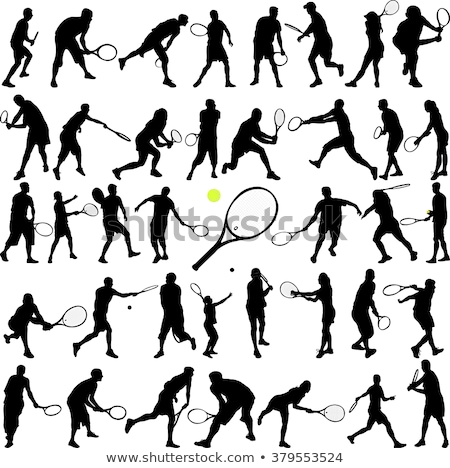 Big collection of tennis player silhouettes. Vector illustration Stock photo © leonido