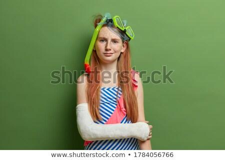 little · girl · máscara · criança · diversão · ouro · feminino - foto stock © phbcz