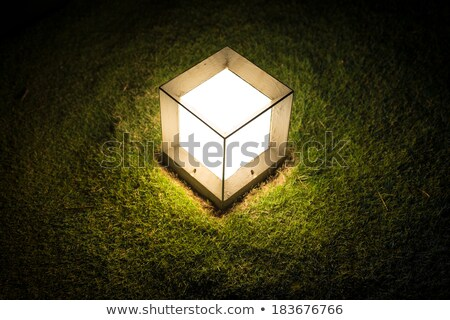 lighting cube lantern on grass at night stock photo © kyolshin