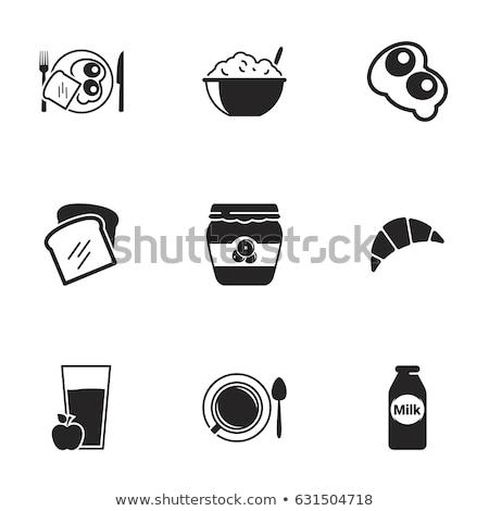 白パン トースト アイコン 卵 背景 パン ストックフォト © aliaksandra