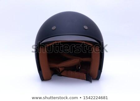 Zwarte Open gezicht motorfiets helm witte Stockfoto © ozaiachin