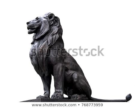 Szobor oroszlán lépcsősor fű fal otthon Stock fotó © Givaga
