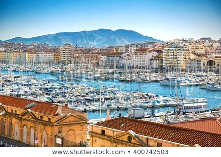 Aerial panoramic view on old port in Marseille  Stock photo © meinzahn