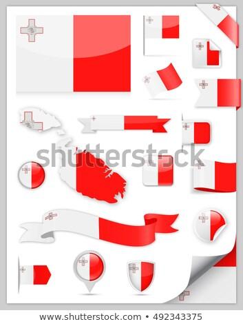 Placu etykiety banderą Malta odizolowany biały Zdjęcia stock © MikhailMishchenko