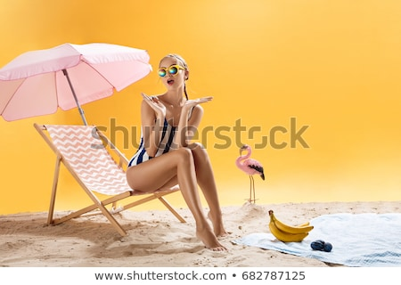 Blond Woman in Summer Clothes on Beach Stock photo © dash