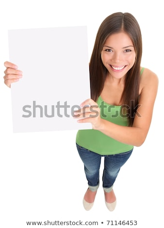 young woman holding a blank banner   showing and top stock photo © uleiber