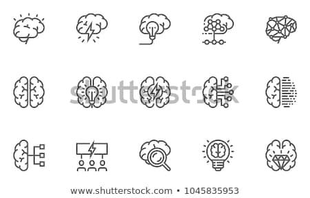 Illusztráció agy konzerv koponya piros fej Stock fotó © Lom