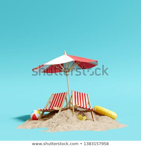 Leżak parasol tropikalnych piasku plaży niebo Zdjęcia stock © happydancing