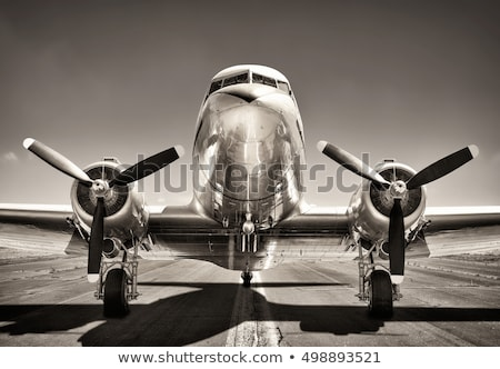 Propeller and engine of vintage airplane Stock photo © Zhukow