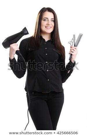 Sorridente cabeleireiro cabelo tesoura salão Foto stock © wavebreak_media