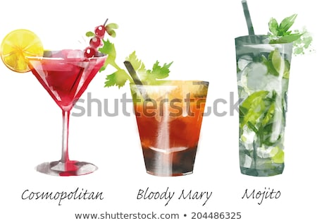cocktail vector watercolor painting on white background stock photo © netkov1