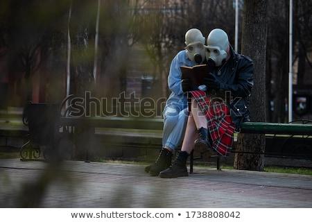 adam · gaz · maskesi · genç · yalıtılmış · beyaz - stok fotoğraf © ongap