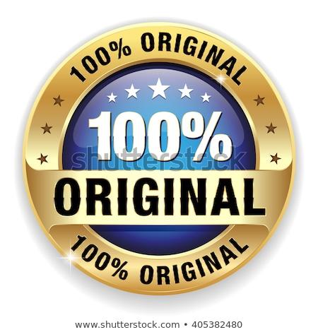 100 pour cent originale bleu vecteur icône Photo stock © rizwanali3d