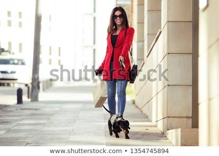 Séduisant brunette beauté posant peu chien Photo stock © oleanderstudio