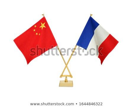 Cina Francia miniatura bandiere isolato bianco Foto d'archivio © tashatuvango