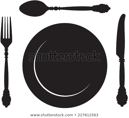 trace of plate with spoon Stock photo © neirfy