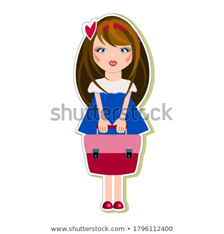 Dziewczyna teczki odizolowany biały Zdjęcia stock © Elnur