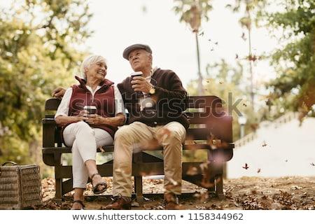 幸せ カップル 座って 屋外 冬 森林 ストックフォト © dariazu