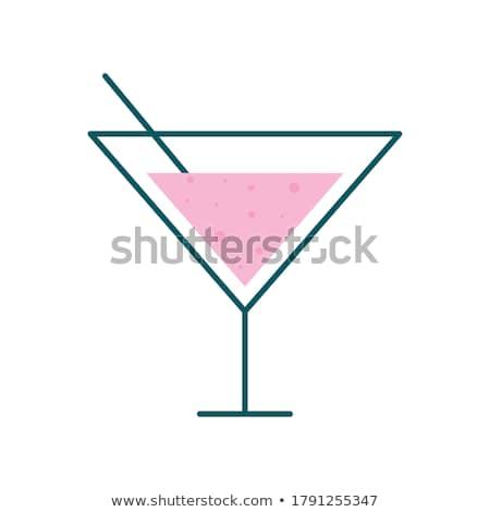 glass with drinking straw line icon stock photo © rastudio