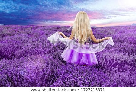 aanbiddelijk · slank · dame · boomgaard · kleurrijk · bloem - stockfoto © majdansky