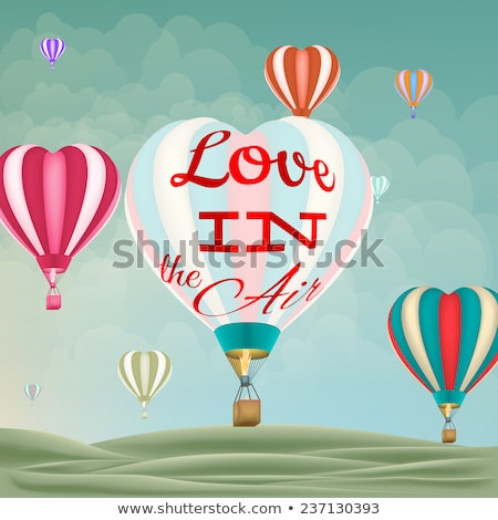 heart shaped hot air balloon taking off eps 10 stock photo © beholdereye