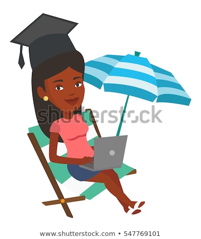 graduate lying on chaise lounge with laptop stock photo © rastudio