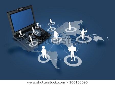 bilgisayar · klavye · mavi · gökyüzü · özgürlük - stok fotoğraf © devon