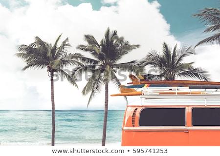 summer adventure in retro car with beach landscape stock photo © cienpies