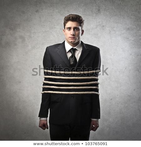 悲しい ビジネスマン ロープ 孤立した 白 作業 ストックフォト © cherezoff